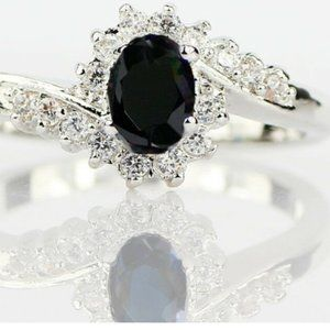 Black Oval Ring Woman Size 10